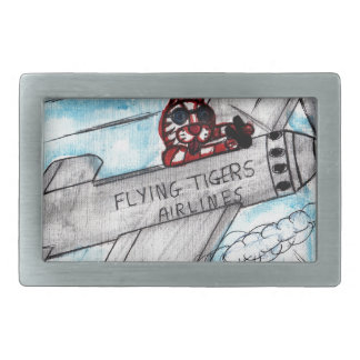 Flying Tigers Airlines Rectangular Belt Buckles