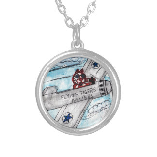 Flying Tigers Airlines Silver Plated Necklace