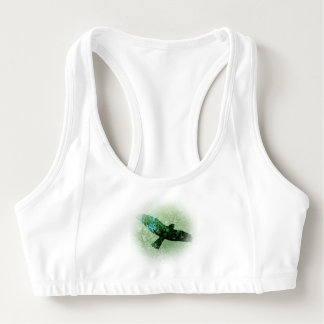 Flying Transparent Be Free black Crow Misty Trees Sports Bra