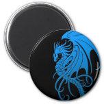 Flying Tribal Dragon - blue on black 2 Inch Round Magnet