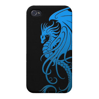 Flying Tribal Dragon - blue on black Cover For iPhone 4