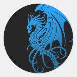 Flying Tribal Dragon - blue on black Round Sticker