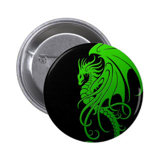 Flying Tribal Dragon - green on black Pinback Buttons