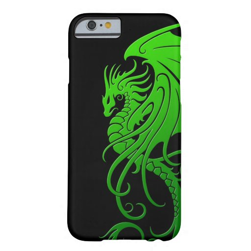 Flying Tribal Dragon - green on black iPhone 6 Case