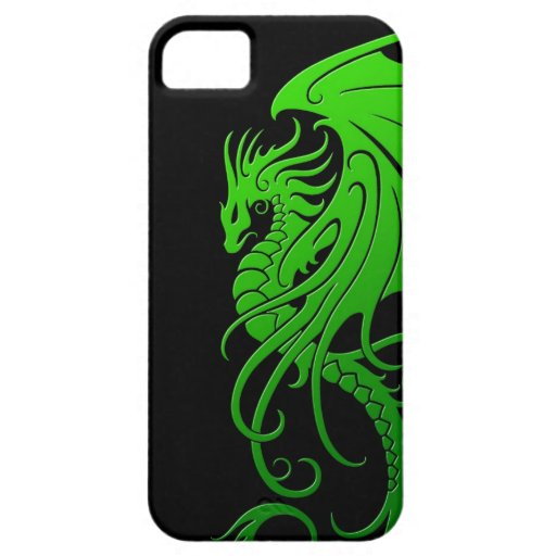 Flying Tribal Dragon - green on black iPhone 5 Case