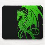 Flying Tribal Dragon - green on black Mousepads