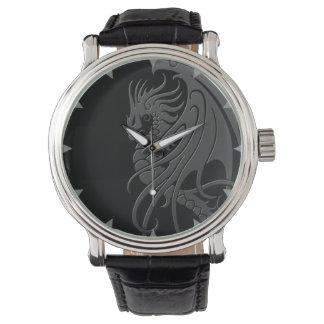 Flying Tribal Dragon - grey on black Watch