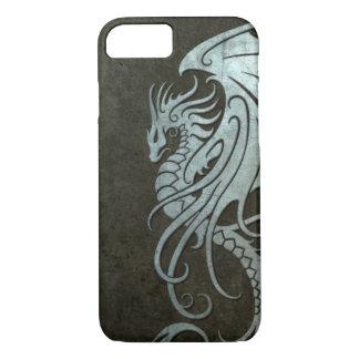 Flying Tribal Dragon – Industrial Steel Effect iPhone 7 Case