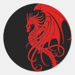 Flying Tribal Dragon - red on black Round Sticker