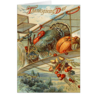 Flying Turkey Airplane Pumpkin Apple Pear Corn Card