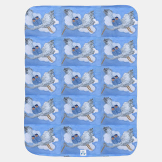 Flying Twin Boys and Stork Blanket Swaddle Blankets
