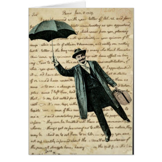 Flying Umbrella Man on Vintage Handwriting - Blank Card