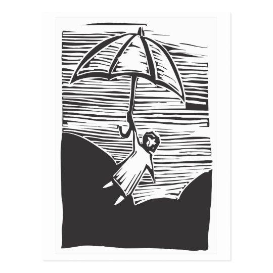 Flying Umbrella Postcard