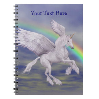 Flying Unicorn Rainbow Personalized Notebook