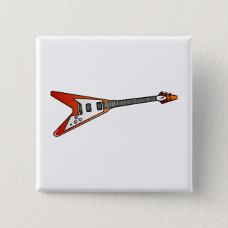 Flying V Guitar 2 Inch Square Button