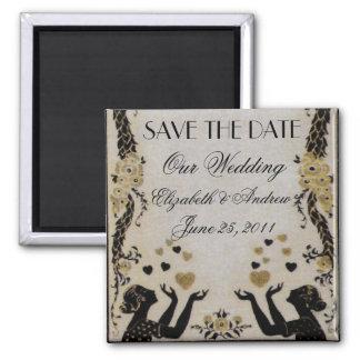 Flying Valentines ~ Wedding Bride Date Nouveau Square Magnet