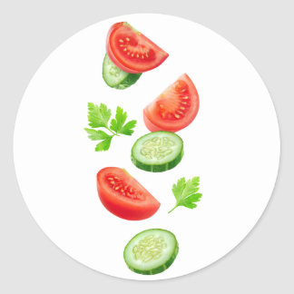 Flying vegetables classic round sticker