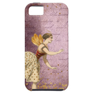 Flying Vintage Fairies on Purple and Gold Case For The iPhone 5