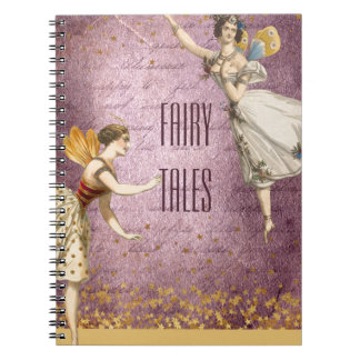 Flying Vintage Fairies on Purple and Gold Spiral Notebook