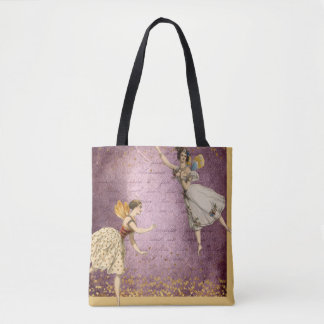 Flying Vintage Fairies on Purple and Gold Tote Bag