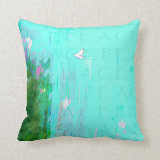 Flying White Peace Dove in Aqua Blue Sky Throw Pillow