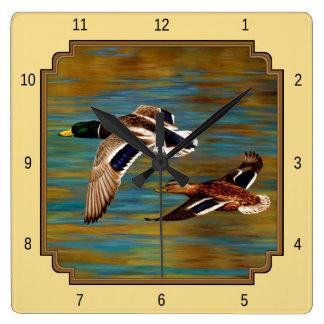 Flying Wild Ducks Yellow Square Wall Clock