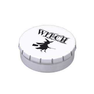 Flying Witch Black And White Typography Halloween