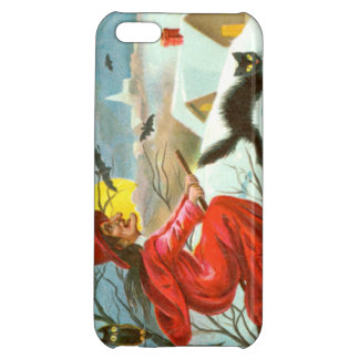 Flying Witch Black Cat Owl Bat Snow Cover For iPhone 5C