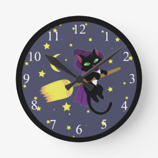 Flying Witch Cat Clocks
