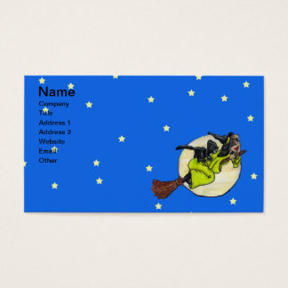 Flying Witch Cat Moon Stars Business Card