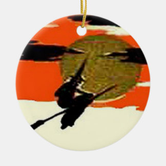 Flying Witch Full Moon Night Round Ceramic Ornament