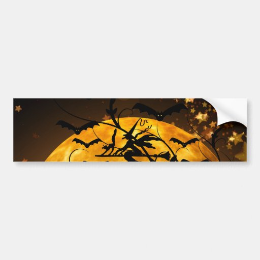 Flying Witch Harvest Moon Bats Halloween Gifts Bumper Stickers