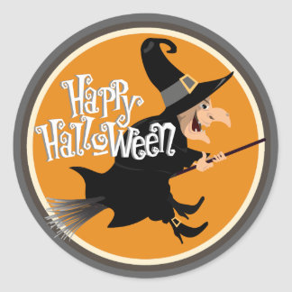 Flying Witch on Broom Halloween Round Sticker