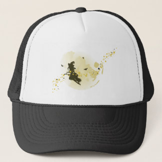 Flying Witch over Full Moon Trucker Hat