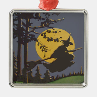 Flying Witch Silhouette Full Moon Silver-Colored Square Ornament
