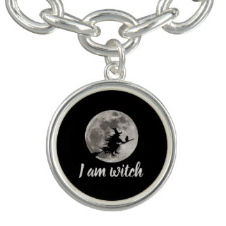 Flying witch with a bright moon behind her bracelet