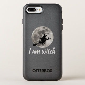 Flying witch with a bright moon behind her OtterBox symmetry iPhone 8 plus/7 plus case