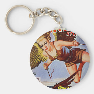 Flying Woman Basic Round Button Keychain