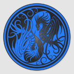Flying Yin Yang Dragons - blue and black Round Sticker