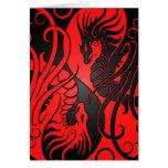 Flying Yin Yang Dragons - red and black Card