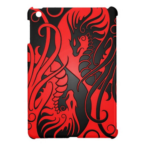 Flying Yin Yang Dragons - red and black Cover For The iPad Mini