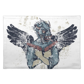 flying zombie with wings placemat