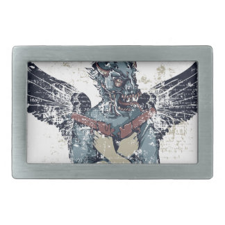 flying zombie with wings rectangular belt buckles