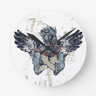 flying zombie with wings round clock