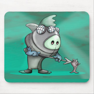 FLYNN DIVER FUNNY CARTOON CUTE MOUSE PAD
