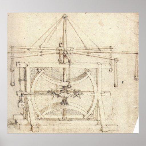 Flywheel Mechanical Drawing Leonardo da Vinci Poster