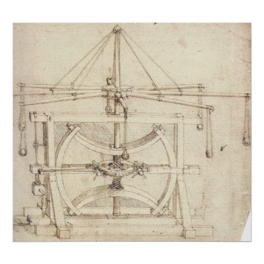 Flywheel Mechanical Drawing Leonardo da Vinci Poster