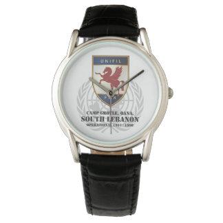FMR Badge & Globe Black Leather Wrist Watch
