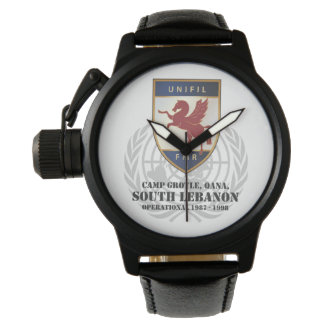 FMR Badge & Globe Protector Black Leather Watch