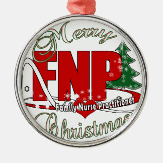 FNP BIGRED MERRY CHRISTMAS FAMILY NURSE PRACTIONER METAL ORNAMENT